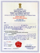 Star Export House Certificate